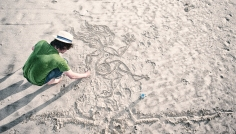 Dan Making 'Picasso in the Sand'